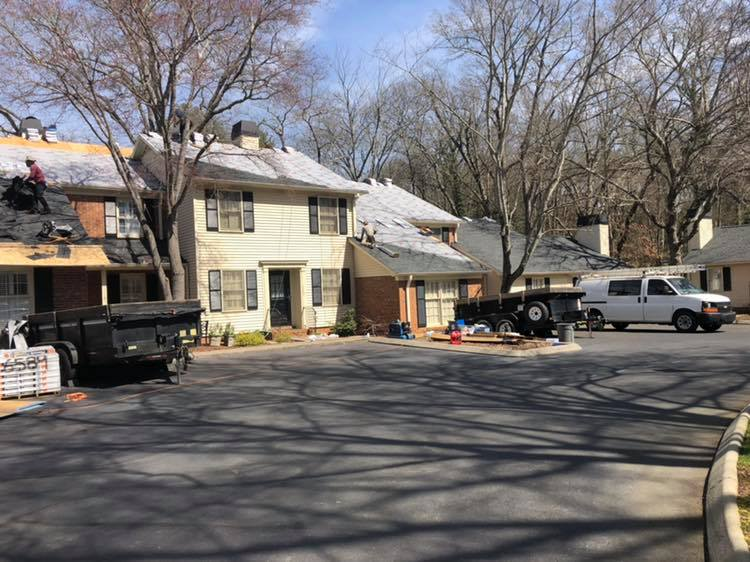 Lanier Roofing Team Working on Townhome Complex