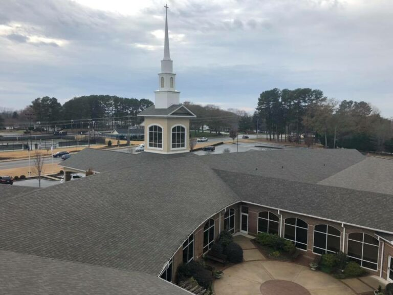 Here is a church commercial roof our professional contractors installed at Lanier Roofing