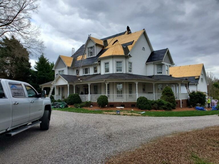 This image shows a roof being remodeled by Lanier Roofing & Restoration in Greenville, SC
