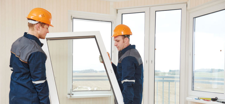 A window being installed in a home.